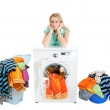 Young housewife beautiful appearance for the first time took the laundry. — Stock Photo #55569929