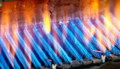 The fire burns from a gas burner. Blue flame when burning gas. — Stock Photo