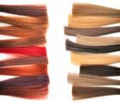Palette samples of dyed hair. — Zdjęcie stockowe