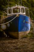 A Boat During The Low Tide — Foto Stock