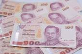 Close up of 100 baht Thai bank note — Stock Photo