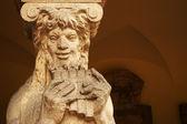 Pan the mythical god of shepherds, impressive column of an atrium — Stock Photo