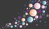 Color vector background with snowflakes and circles — Stock Vector