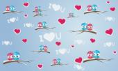 Seamless background with birds and hearts — Stock Vector