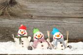 Tre pupazzi di neve — Foto Stock