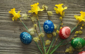 Easter eggs on the boards — Stock Photo