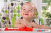 Cute smiling baby child enjoy eating watermelon — Stok fotoğraf