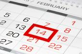 Calendar page with marked date 14 of February — Stock Photo