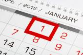 Calendar page with marked 1 of January 2016 — Stock Photo