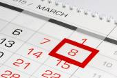 Calendar page with marked date 8 of March — Stock Photo