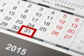 Calendar page with marked 31 of December 2015 — Stock Photo