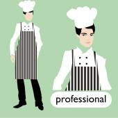 Profession, male chef set. — Stock Vector