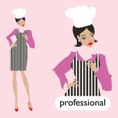 Profession, female chef set. — Stockvector