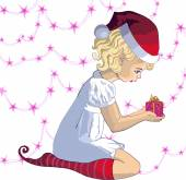 Young child in christmas hat with present — Stockvector