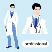 Profession, male doctor — Stok Vektör