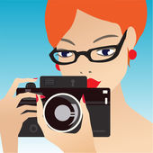 Young cute woman holding the camera — Stock Vector