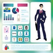 Male fashion infographics set — Vecteur