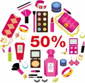 Make up set, 50 percent's sale — Stock Vector