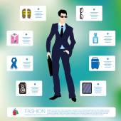 Male fashion items set — Stock Vector
