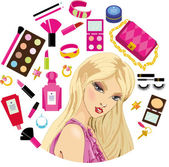 Fashion accessories and cosmetics set — Stock Vector