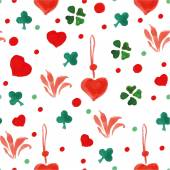 Watercolor heart seamless pattern — Stock Vector
