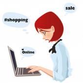 Girl typing on laptop — Vector de stock