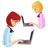 Young women typing and learning — Stock Vector