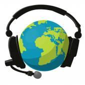 Globe and headphones — Stock Vector