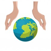 Hands and globe. — Stock Vector
