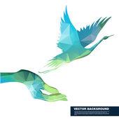 Hand holding flying bird — Stock Vector