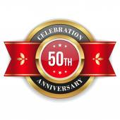 Gold 50th anniversary badge — Stock Vector