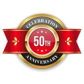 Gold 50th anniversary badge — Stock Vector