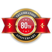 Gold 80th anniversary badge — ストックベクタ