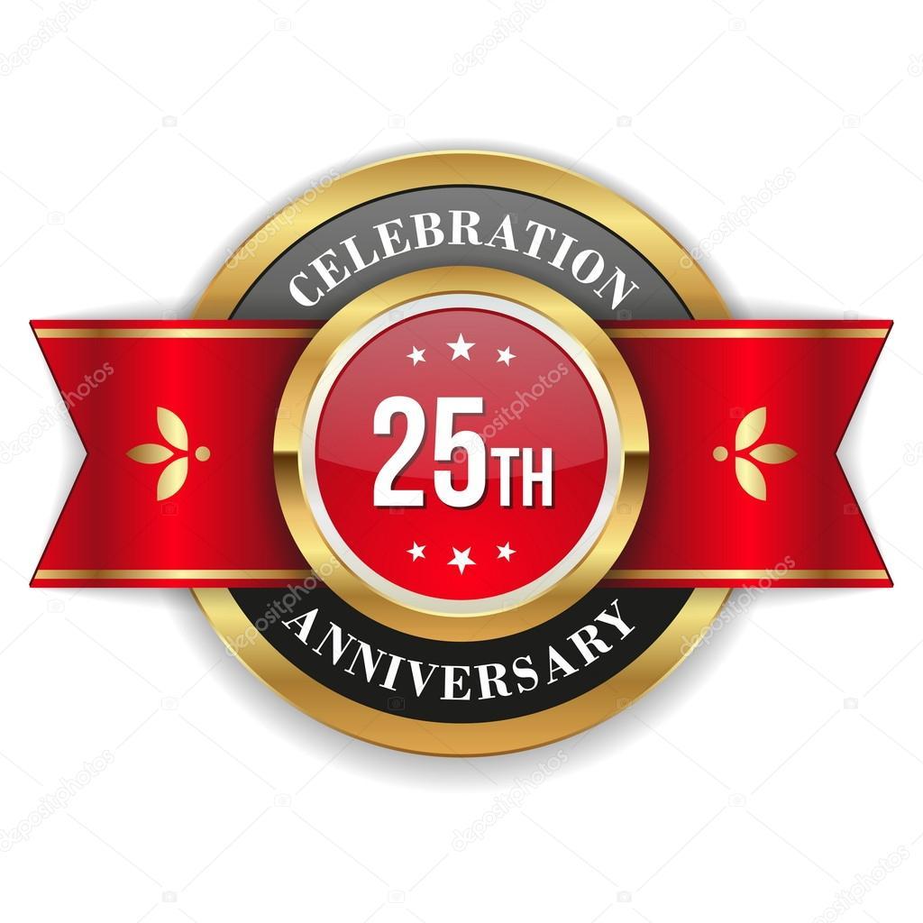 黄金 25 周年纪念徽章 图库矢量图片 53692229