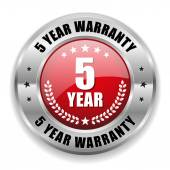 5 year warranty button — Stock Vector
