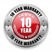 10 year warranty button — Stock Vector