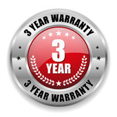 3 year warranty button — Stock Vector