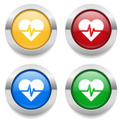 Buttons with heart beat icon — Stock Vector