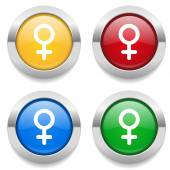 Buttons with female sign icons — Stock Vector
