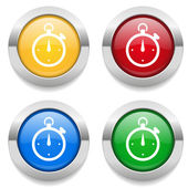 Buttons with stop-watch icons — Vector de stock