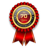 Gold 70 years anniversary badge — Stock Vector