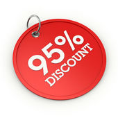 Red round 95 percent discount tag — Stock Photo