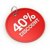 Red round 40 percent discount tag — Stock Photo
