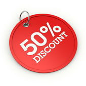 Red round 50  percent discount tag — Stock Photo