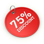 Red round 75  percent discount tag — Stock Photo