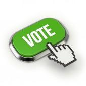 Vote button with metallic border — Stock Photo