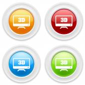 Buttons with television icons — Vector de stock