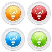 Buttons with bulb icon — Vector de stock