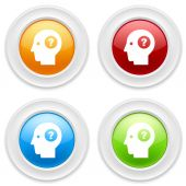 Head with question icons — Stock Vector