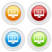 Buttons with wide screen icons — Stock Vector